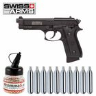 Komplettset Swiss Arms P92 Co2-Pistole Vollmetall Blowback 4,5 mm BB (P18) + 10 Co2-Kapseln + 1500 Stahl-BBs 4komma5
