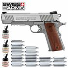 Superset Swiss Arms P1911 Co2 Pistole braune Griffschalen Blow Back 4,5 mm BB (P18)