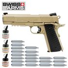 Superset Swiss Arms P1911 Co2 Pistole schwarze Griffschalen Blow Back 4,5 mm BB (P18)
