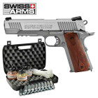 Kofferset Swiss Arms P1911 Co2 Pistole braune Griffschalen Blow Back 4,5 mm BB (P18)