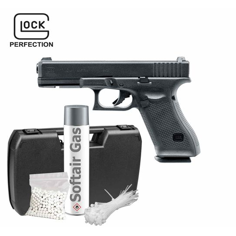 Komplettset Glock 17 GEN5 Softair-Pistole 6 mm BB Gas Blowback />0,5 J P18