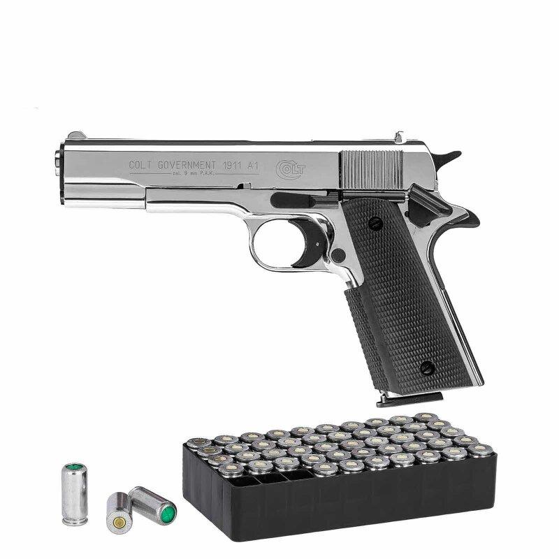 Set Colt Government 1911 A1 Schreckschuss Pistole Polished Chrome 9 M